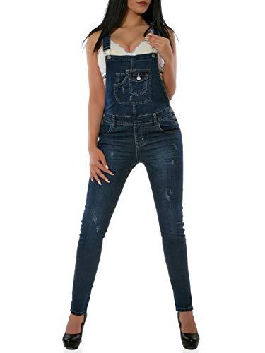 Damen Latzhose Jeanshose Denim Overall Jumpsuit DA 16039 Farbe Dunkelblau Größe S / 36