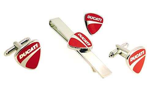 Gemelolandia | Set mit Krawattennadel | Manschettenknöpfe aus Hemd und Reversnadel Ducati | Originelle Manschettenknöpfe für Hemden | für Männer | Geschenke für Hochzeiten | Kommunionen | Taufen