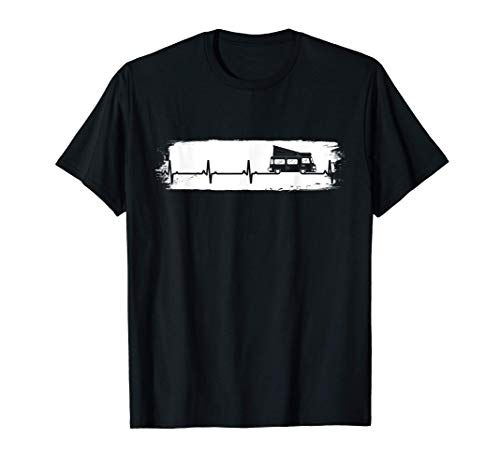 Camping Heartbeat Camping Retro Camper Camiseta