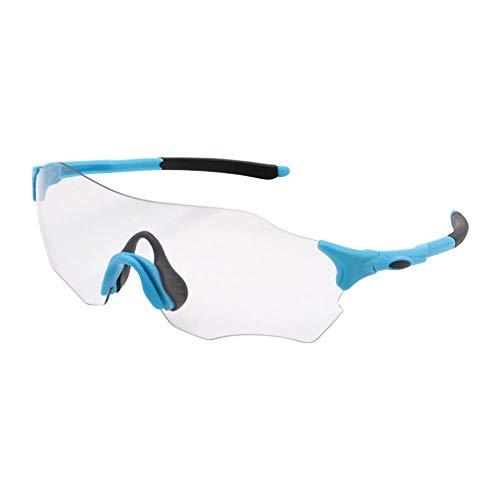 SSDAOO Farbwechsel-Radbrillen Herren- Und Damen-Sportbrillen Im Freien Winddichte Gläser Ultra-Leichte Sonnenbrille (2 Stücke),Blau