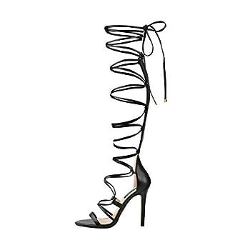 LISHAN Womens Gladiator Knee High Sandals Open Toe Lace Up Cross Strap High Heels Sandals Black Big Size 15 M US