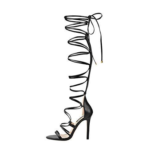 LISHAN Black Strappy Gladiator Knee High Heel Sandals Open Toe Lace Up Zip Heel Sandals Sexy Heels Women Stripper Heels 8 M US