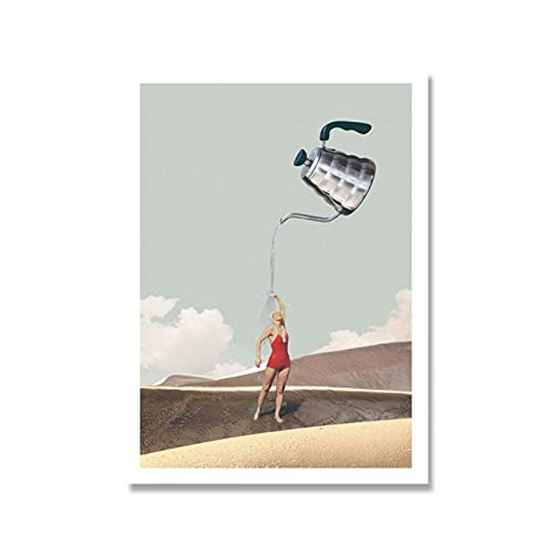 Nbqwdd Carteles De Dibujos Animados Nórdicos Copa De Vino Pintura En Lienzo Chica Abstracta con Dird Arte De La Pared Imágenes Impresas para La Sala De Estar Decoración Única-60X80Cmx1 Sin Marco