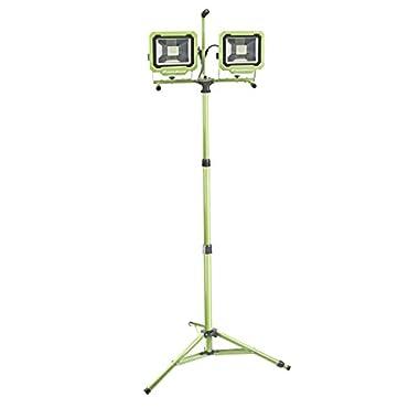 PowerSmith 60-Watt (6000 Lumens) LED Dual-Head Work Light with Tripod for Outdoor/Indoor Paint, Drywall, Lawn/Garden, Automotive