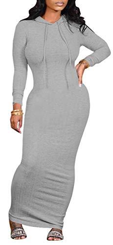WUSENST Women's Maxi Dress Sexy Bodycon Long Sleeve Pullover Hoodie Casual Slim Sweatshirt Gray