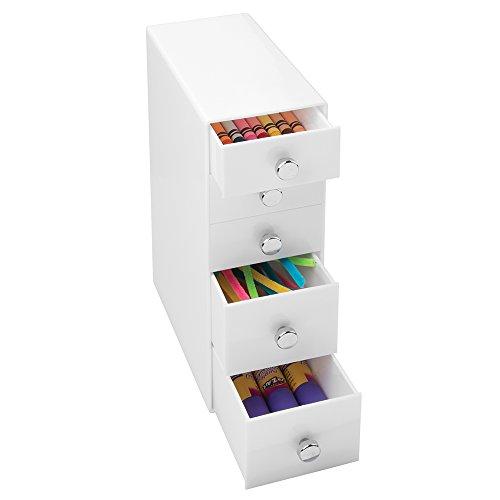 mDesign Cajonera de plastico blanco – Preciosa minicajonera con 4 cajones – Ideal como joyero, organizador de escritorio, costurero, etc. – Para guardar y clasificar objetos pequeños