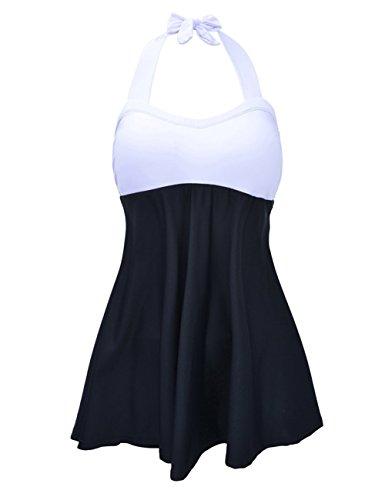 FeelinGirl Vestido de Traje de Baño Hálter Una Pieza Talla Grande con Pantalones Seguros para Mujer Blanco-Negro M(Talla 38-40)