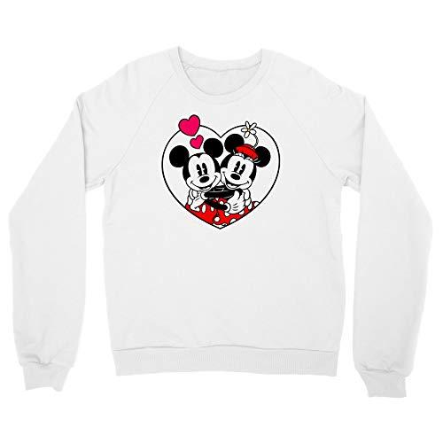 Cup of Tees Mickey & Minnie Hug Men's White Sweatshirt