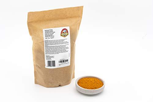 Curcuma in polvere BIO 1 kg radice di curcuma in farina, crudo, alto contenuto e dosaggio di curcumina del 5% biologica senza glutine vegan low-carb organic turmeric powder 1000g gram