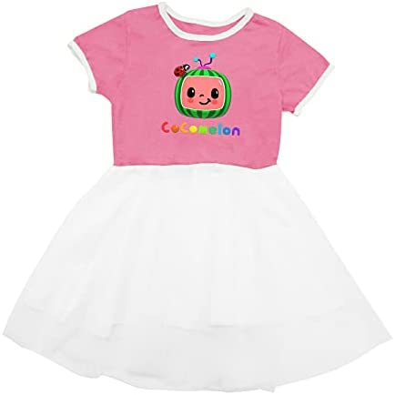 TIFOUTY Baby Cocomelon Birthday Party Little Outfit Baby Dresses Summer Apparel Cute Net Gauze Skirt for Toddler Baby Girls