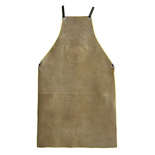 OLSON DEEPAK Leather Welding Work Apron - Heat Resistant & Flame Resistant Bib Apron, Flame Retardant Heavy Duty BBQ Apron, Adjustable One Size Fit Most - 31' X 45',Brown