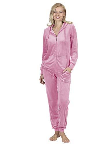 RAIKOU Damen Hausanzug Trainingsanzug Velours Nicki Freizeitanzug Jogginganzug Schlafanzug Kapuzenpullover mit Reißverschluss Hose mit Kordelzug und Taschen (36/38, Rosa)