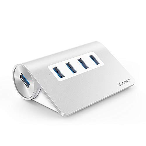 ORICO Hub in Alluminio 4 Porte USB3.0 con 2Ft. Cavo USB per Smartphone, Tablet, Computer Portatili, Desktop e Altri dispositivi Apple-Argento