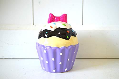 Deko Spardose Eisbecher/Muffin lila aus Keramik abschließbar ca. 11cm Höhe Tischdeko Trinkgeld-Kasse