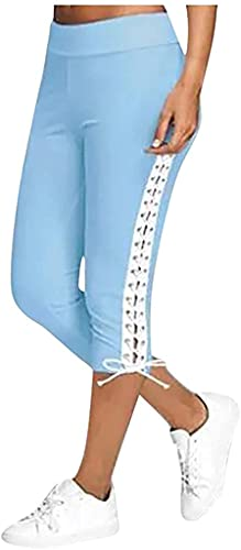 Leggings for Women Plus Size Casual Summer Elastic Waist Cropped