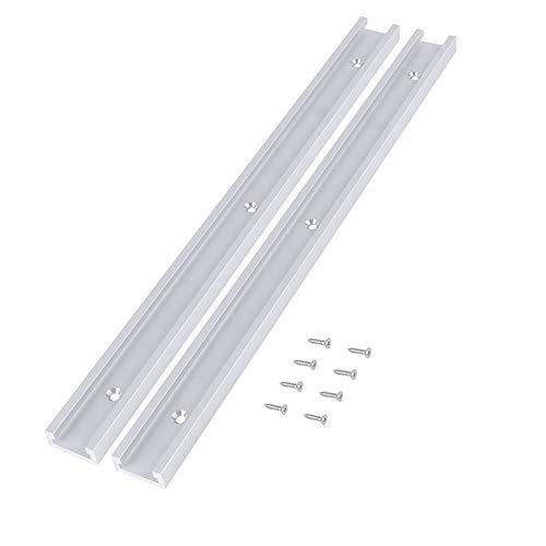 2pcs T Track 400mm Aluminiumlegierung T-Slot Track mit 8pcs selbstklebende Schrauben für Holzbearbeitung oder Router Tischsäge
