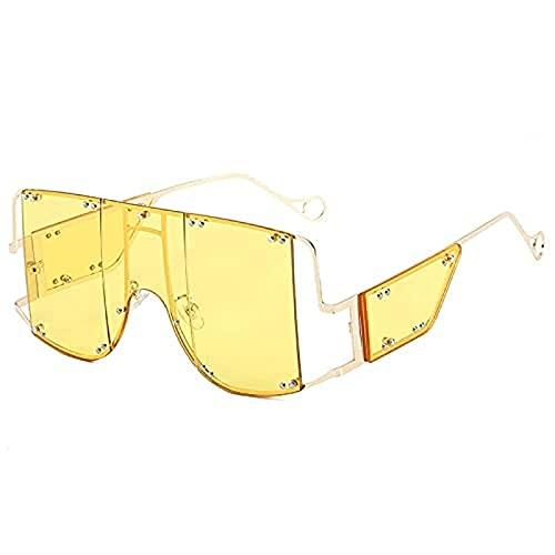 Portonss Gafas de Gafas de Sol integradas Gafas de Sol de Personalidad de Metal Integrado de Metal Integrado (148 mm 62 mm)
