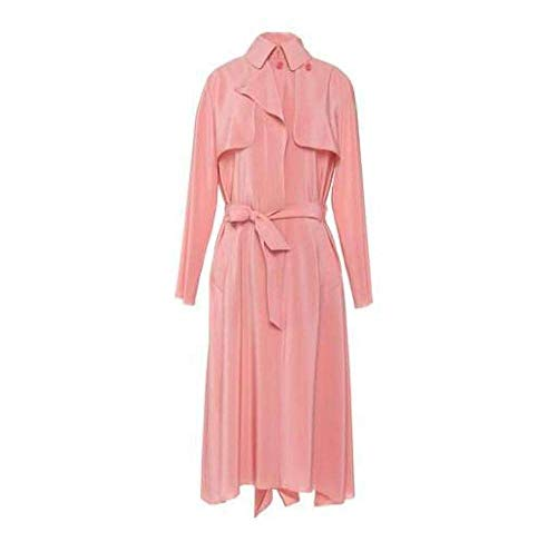 Cedric Charlier Pink Silk Georgette Trench Coat