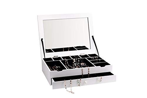 LIFA LIVING Schmuckkästchen für Damen, Schmuckkasten mit Spiegel & Schublade, 12 Fächer für Schmuck & Kosmetik, aus Holz & Samt, 30 x 40 x 10 cm