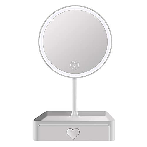 Espejo de maquillaje LED recargable con luces, espejo cosmético de belleza portátil con atenuación de pantalla táctil, espejo de tocador con espejo de punto de aumento de 5 aumentos desmontable para