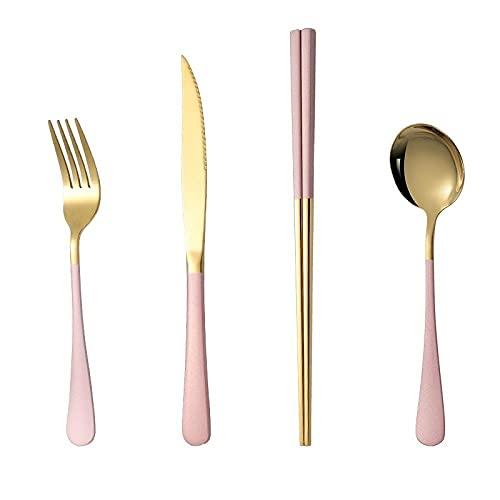 OUDEING Cutlery Set Conjunto de vajillas de Acero Inoxidable 32/16 / 27 unids, (Conjunto básico) Hogar/Cocina/Fiesta/Viaje-Polvo 32pcs