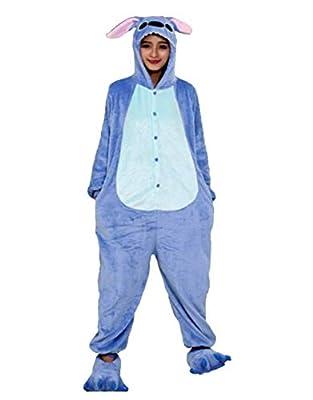 Pijamas Disfraces Onesie Animal Adultos kigurumi Carnaval Halloween o Fiesta Espectáculo Navideño Mono Cosplay Ropa Interior de Zoológico Invierno Unisex Mujeres y Hombres - S - Stitch Azzurro