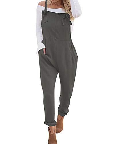 VONDA Latzhose Damen Jumpsuit Retro Lange Overall Größe Jumpsuits Baggy Sommerhose A-Grau S