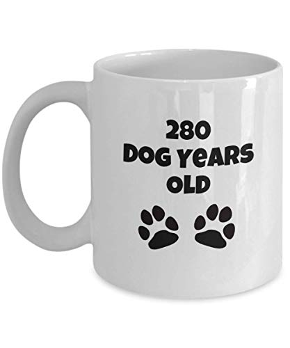 40 Year Old 40th Birthday Gift Idea for Women Men 280 Dog Years Old Funny Coffee Mug Cup