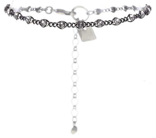 Konplott: Armband Magic Fireball mini grey/white, feines Gliederarmband mit kleinen runden Kristallen in grau und weiß, für Damen/Frauen