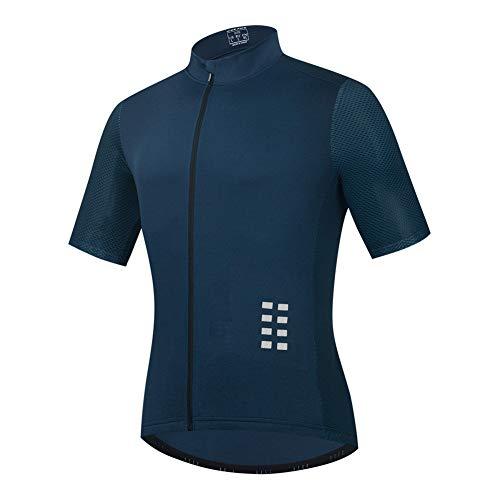 Maillot Ciclismo Hombre, Manga Corta Camiseta, Tops Ciclismo Bicicleta Bici Transpirable Secado Rápido Reflectante Jersey (Blue,XXL)