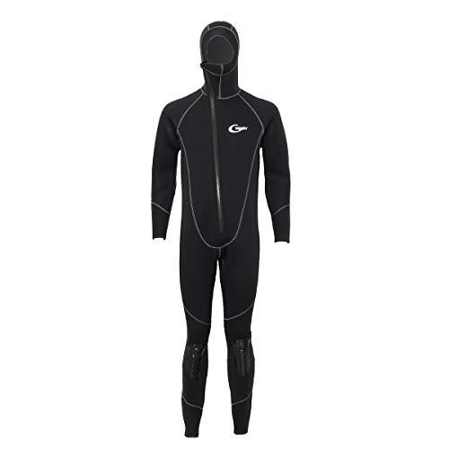 KINGDUO Yon Sub 5MM Neopreno Cremallera Frontal Buceo Snorkeling Traje de baño Conjunto Mangas largas Hombres Traje de Surf Traje de Surf con Capucha - XL