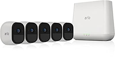 Arlo PRO - Wireless Home Security Camera System   Rechargeable, Night Vision, Indoor/Outdoor, HD Video, 2-Way Audio   Cloud Storage Included   5 Camera Kit (VMS4530-100NAR) (Renewed)
