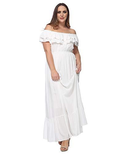 Anna-Kaci Women's Plus Size Bohemian Ruffle Off The Shoulder Stretchy Empire Waist Maxi Long Dress, White, X-Large