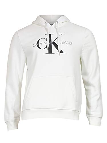 Calvin Klein Herren Fleece Hoodie Logo Pop Over Sweatshirt Hemd, weiß, Medium