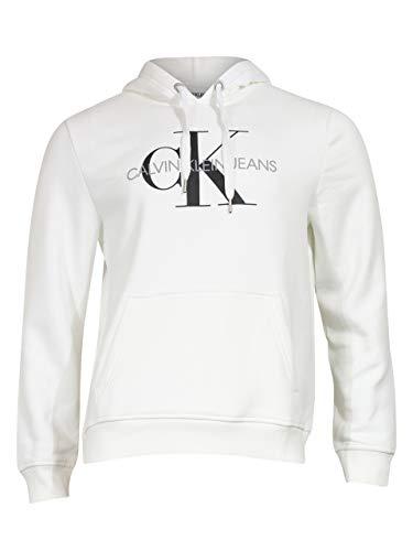 Calvin Klein Herren Fleece Hoodie Logo Pop Over Sweatshirt Hemd, weiß, Large