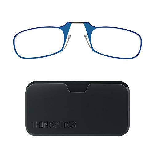 ThinOptics leesbril en universeel compact hoesje - Compact opvouwbare leesbril 2,5 Sterkte Blauw