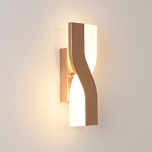 6 W LED-wandlamp, binnenwandlamp, goudkleurig, 350 ° draaibaar, wandlampen, decoratie voor slaapkamer, van metaal, acryl, energiebesparend, warmwit