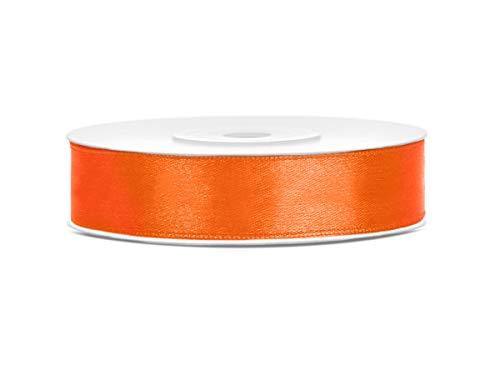 25 m x 12 mm Rolle Satinband Geschenkband Schleifenband Dekoband Satin Band (Orange)