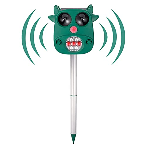 Rechargeable Ultrasonic Animal Repellent, Ultrasonic Dog Chaser, Solar Powered Waterproof Animal Repeller with Motion Sensor & Flashing Lights, Scares Off Repels Squirrel Raccoons Rabbit Deer (Green)