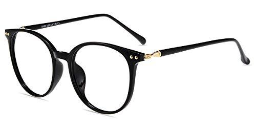 Firmoo Blaulichtfilter Brille ohne Sehstärke für Damen/Herren, Anti Blaulicht UV Schutzbrille, TR Vollrandbrille gegen Augenbelastung Entspiegelte Nerdbrille Schwarz