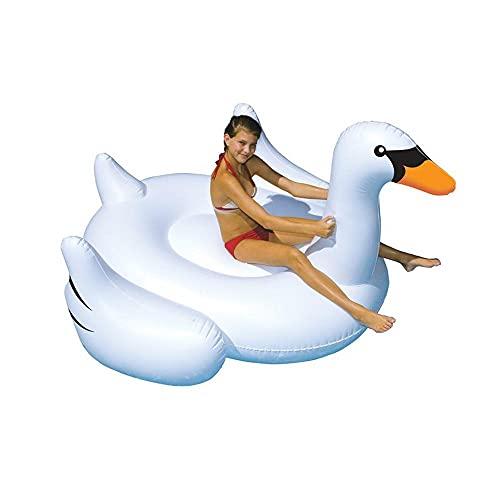 JKHN Inflable Blanco Swan Pool Flot Pool Toys Toys Summer Beach Party Floaties Lounge Decoraciones para Niños (150 Cm)