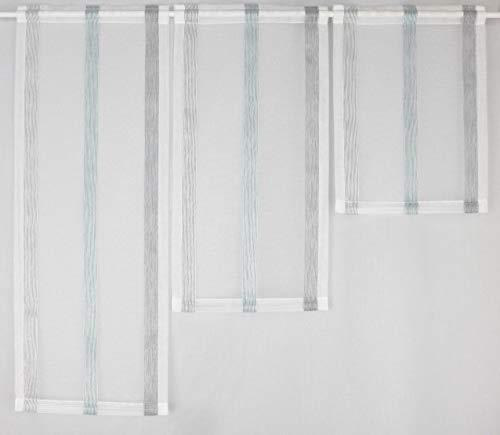 Gardinen Röttger Miniflächen-Set türkis grau längs gestreift Scheibengardine