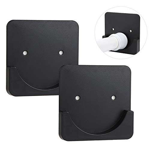 KEEUH Adhesive Shower Curtain Rod Holder - Tension Rod Holders Mount Retainer for Wall with Adhesive Stickers and Screws   No Drilling   Stick On   2 Pack Square Black(Shower Curtain Rod not Included )
