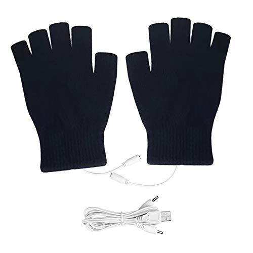 Petyoung - Guantes de lana para hombre y mujer, con calefacción por USB, guantes de punto unisex, guantes de lana, calentadores de manos para ordenador portátil, sin dedos lavables (negro)