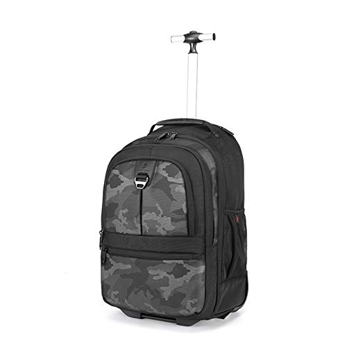 FREETT Waterproof Trolley Backpack, Men Wheeled Laptop Backpack, Travel Trolley Suitcase for Boarding, University, School, 32 * 23 * 51 cm, High Capacity,Gray