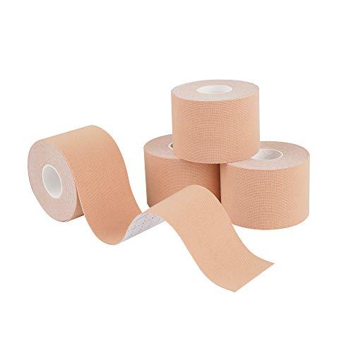Kinesiologie Tape Knie und Muskel Support, Kinesiotapes Sporttape für Schmerzbekämpfung & Physiotherapie (4 Pack Beige)