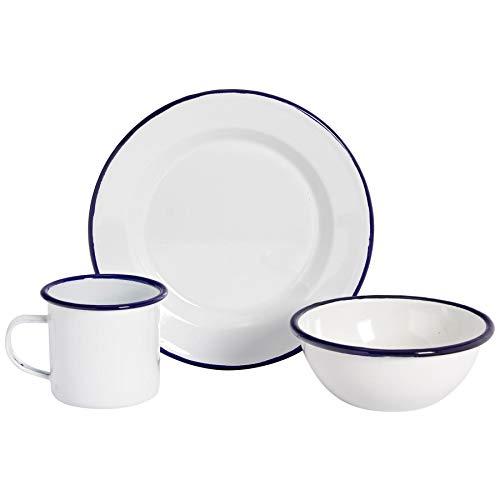 Argon Tableware Geschirr-Set aus Teller, Tasse & Schüssel - weiße Emaille-Beschichtung mit blauem Rand - 12-teilig