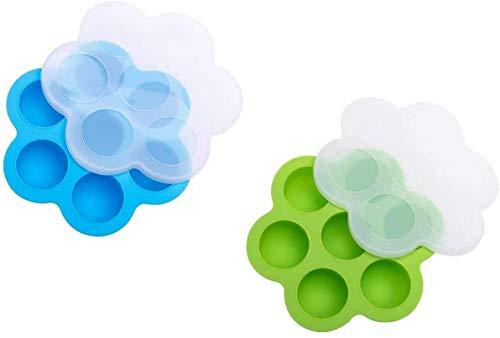 Siliconen Ei Bites Mallen voor Instant Pot van 5/6/8 qt en Druk Cooker, Herbruikbare Baby voedsel opslag container & diepvries lade met deksel (2 Pack Blauw & Groen)