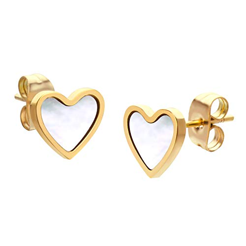 555Jewelry Small Delicate Mother of Pearl Heart Stud Earrings for Girls & Women Gold