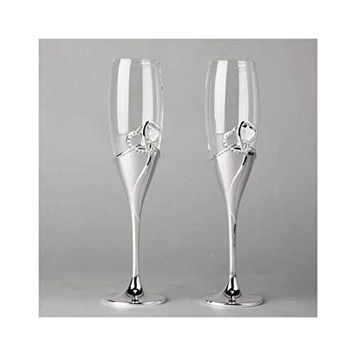 WENSHENG Bicchieri di Vino Vetro di Champagne in Metallo Placcato in Argento in Stile Europeo,Flauto di Metallo del Pane Tostato per Matrimoni O Uso del Partito,Bicchiere di Vino (Color : Clear)